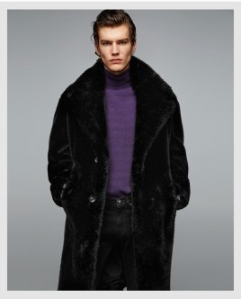 3 button Faux Fur Mens Winter Coat Zara Collection 2017