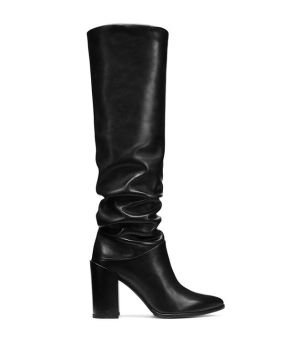 F/W Leather Block Heel Slouch Boot 2017 Zara Collection