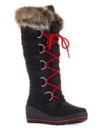 Main cougar Lace Up Faux fur Wedge Boots