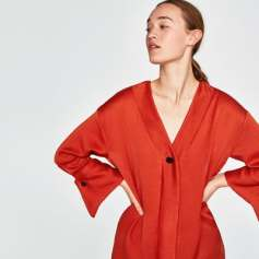 Zara SS 18 Women's collection Red V- Neck Shirt Dress - w/Wing Cuffs
