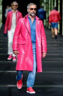 Billionaire Men's Spring 2018 Milan Men's FW - Red Croc Leather Coat - Getty Images