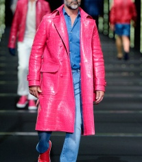 Billionaire Men's Spring 2018 Milan Men's FW - Red Croc Leather Coat - Getty Images