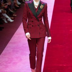 Dolce Gabbana Vogue Indigital SS 18 Red Pin Stripe Double Breasted Suit