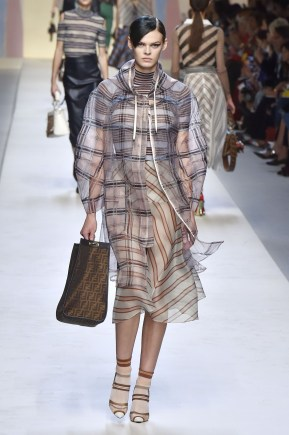 Fendi - Women's Collection RTW 2018 - Sheer Pattern Light Coat Model Cara Taylor - Indigital t.v. Vogue