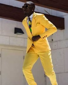 Bold Yellow Mens suiting 80's revisited ss18 ah-ha.com