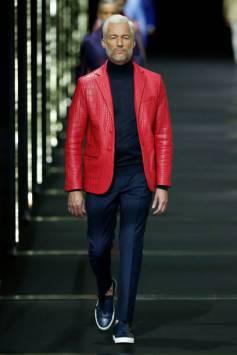 Label - Billionaire - Designer - Phillip Plein Red Croc Leather Jacket - Milan Men's FW SS 18 - Getty Images