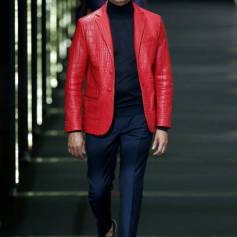 Label - Billionaire - Designer - Phillip Plein Red Croc Leather Jacket - Milan Men's FW SS 18 - Getty Images