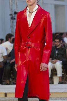 theimpression.com Alexandre McQueen Red Leather Men's Coat SS 18