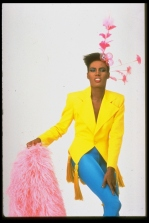www.theredlist.com Grace Jones in PK outfit pic by Jean Claude Saucer for Paris Match 1980