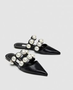 Flat Mules with Pearl Beads Zara - refinery29.com