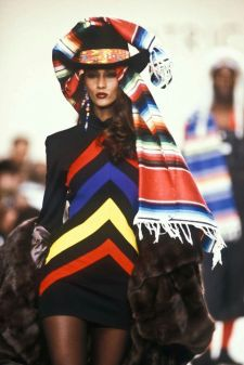 Model Iman walking for Patrick Kelly 1990