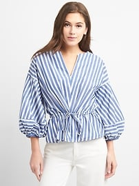 SS 18 - Stripe Balloon Sleeve Top with Cinched Waist - gap.co.uk