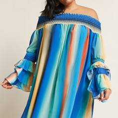 Plus Size Water Color Off the Shoulder Dress www.forever21.com