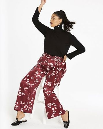 Floral Washed Satin Wide Leg Trousers: Simply be: pic by refinery29.com