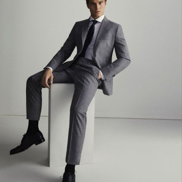 Checked Wool Slim Suit SS18 www.massimodutti.com