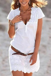 Bellalike V Neck Short Sleeve Dress www.bellalike.com