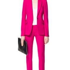 Fushia Pink Puffed Shoulder Suit SS18 zara.com