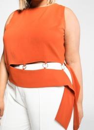 Premme Orange Sleeveless Belted Top Plus: premme.us