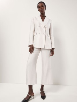 Massimo Dutti 2018 SS Cropped Shiny Linen Suit