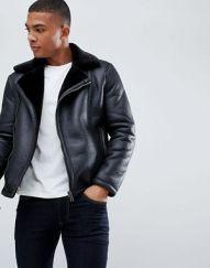 Faux shearling biker jacket AW Men's 2k18 www.asos.com