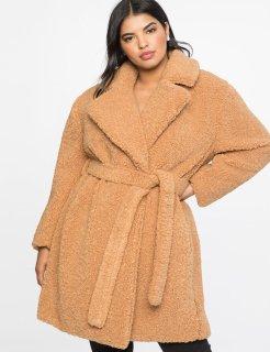 Boucle Teddy Coat Women's Plus Size AW 2018 www.eloquii.com