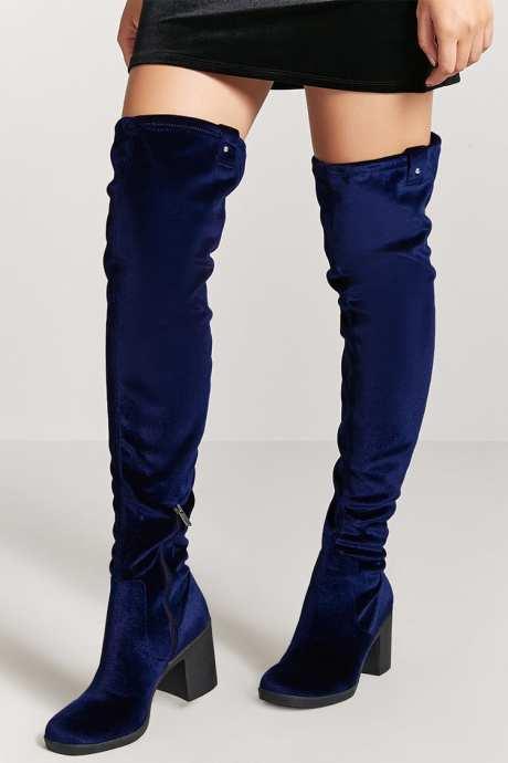 Forever 21 Long Thigh High Blue Velvet Block Heel Boots www.forever21.ca