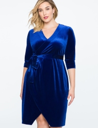 Royal blue Velvet Wrap Dress www.eloquii.com