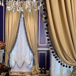 Beige Velvet Italian Style Curtain w/ White Tulle Vallance www.amazon.ca