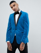 Blue Velvet Skinny Blazer Asos Men's Collection www.asos.com