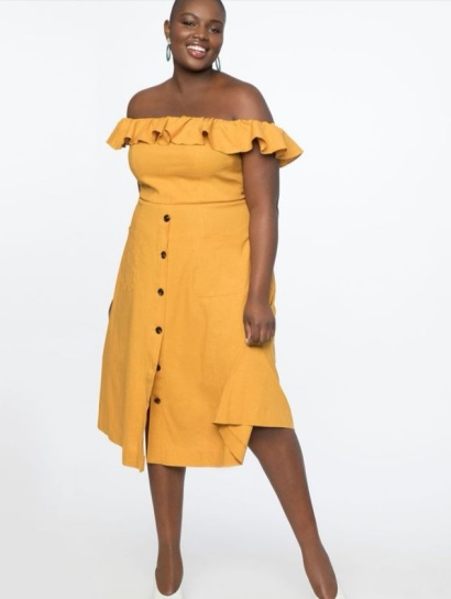 Off The Shoulder Dress Mustard Yellow - Eloquii SS 19 www.stylecaster.com