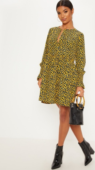 Mustard Yellow Animal Print Smock Dress SS19 www.prettylittlething.com
