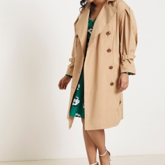 Eloquii Plus Puff Shoulder Trench www,eloquii.com